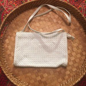 Vintage Crossbody Ganson White Leather Weave